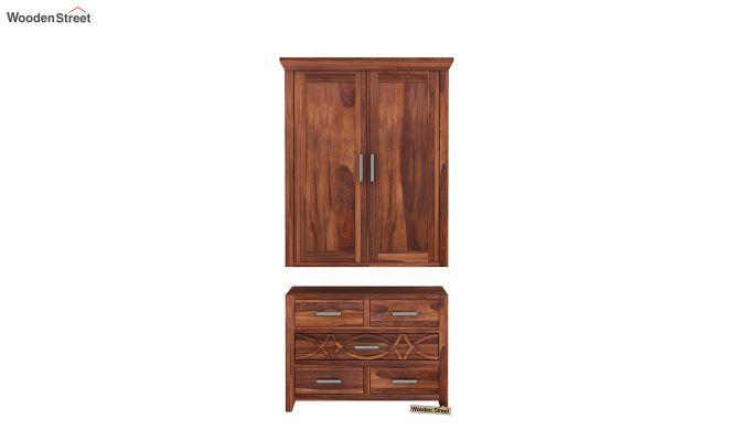 Allan 2 Door Multi-Utility Wardrobe (Honey Finish)-6