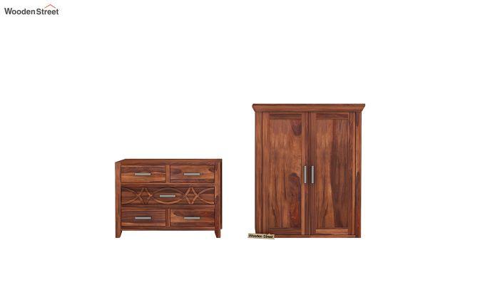 Allan 2 Door Multi-Utility Wardrobe (Honey Finish)-7