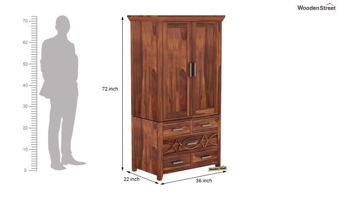 Allan 2 Door Multi-Utility Wardrobe (Honey Finish)-9
