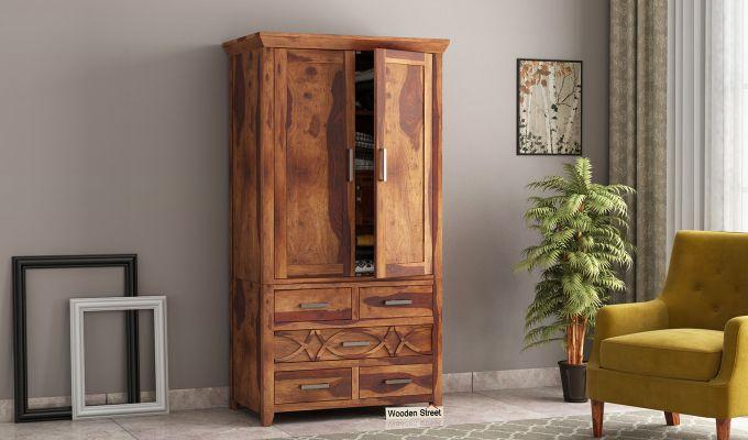 Allan 2 Door Multi-Utility Wardrobe (Teak Finish)-1