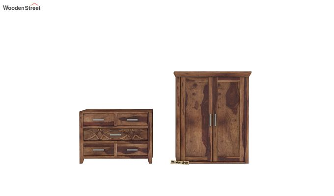 Allan 2 Door Multi-Utility Wardrobe (Teak Finish)-7