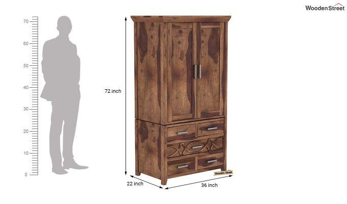 Allan 2 Door Multi-Utility Wardrobe (Teak Finish)-9
