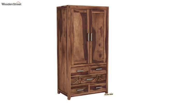 Allan 2 Door Multi-Utility Wardrobe (Teak Finish)-2