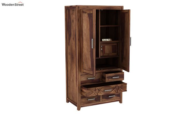 Allan 2 Door Multi-Utility Wardrobe (Teak Finish)-4