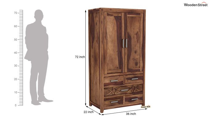 Allan 2 Door Multi-Utility Wardrobe (Teak Finish)-6