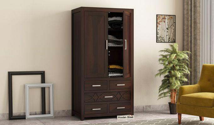Allan 2 Door Multi-Utility Wardrobe (Walnut Finish)-1