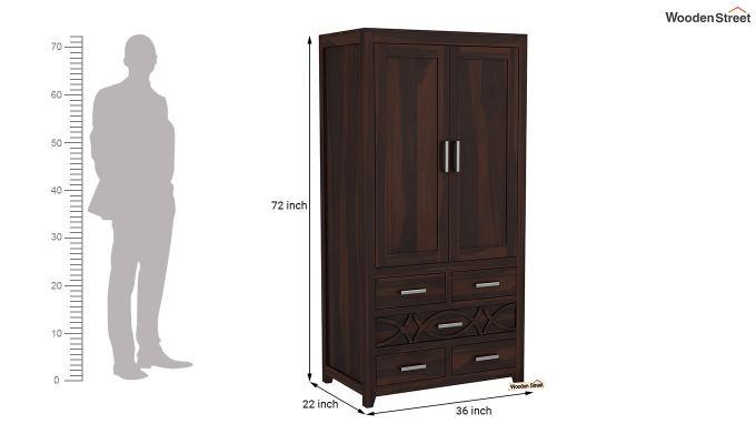 Allan 2 Door Multi-Utility Wardrobe (Walnut Finish)-6