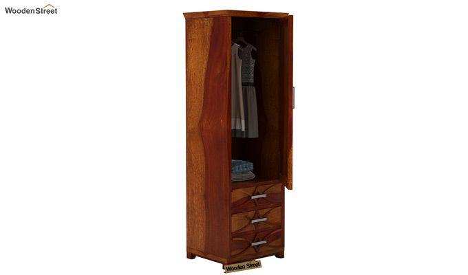 Allan 1 Door Multi-Utility Wardrobe (Honey Finish)-3