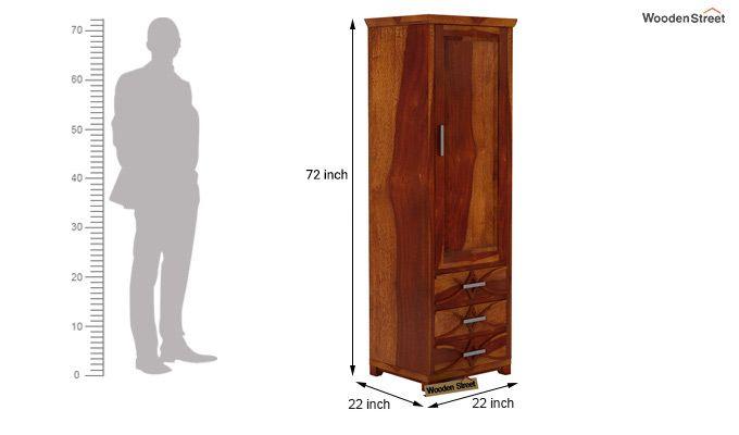 Allan 1 Door Multi-Utility Wardrobe (Honey Finish)-4