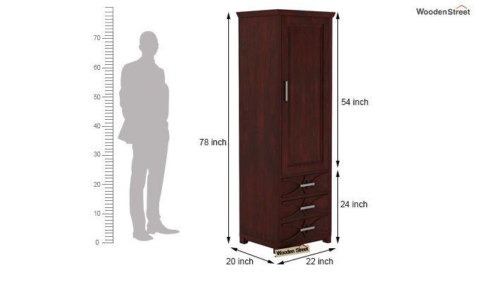 Allan 1 Door Multi-Utility Wardrobe (Mahogany Finish)-4