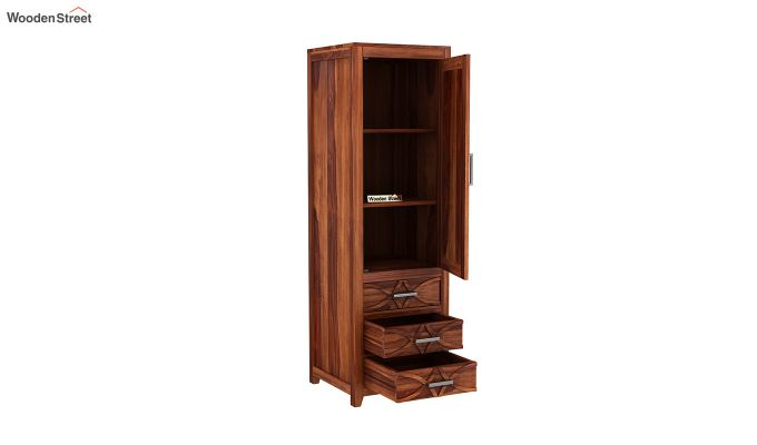 Allan 1 Door Multi-Utility Wardrobe (Honey Finish)-4