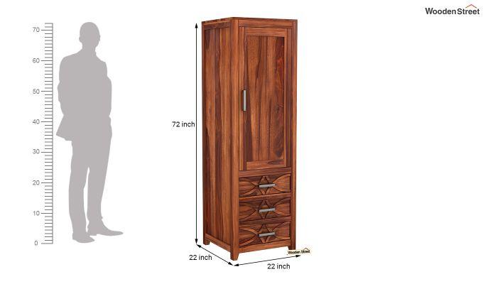 Allan 1 Door Multi-Utility Wardrobe (Honey Finish)-6