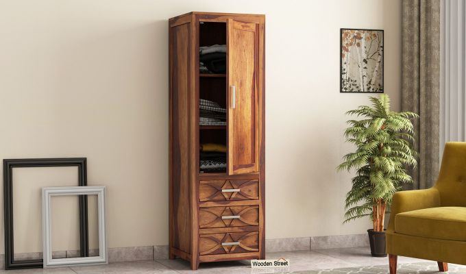 Allan 1 Door Multi-Utility Wardrobe (Teak Finish)-1