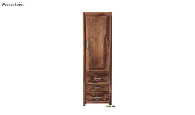 Allan 1 Door Multi-Utility Wardrobe (Teak Finish)-3