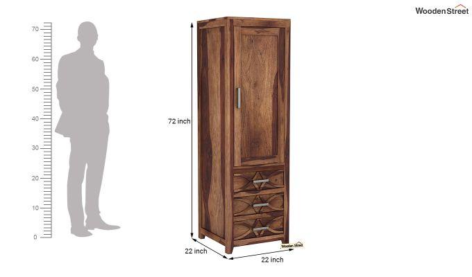 Allan 1 Door Multi-Utility Wardrobe (Teak Finish)-6