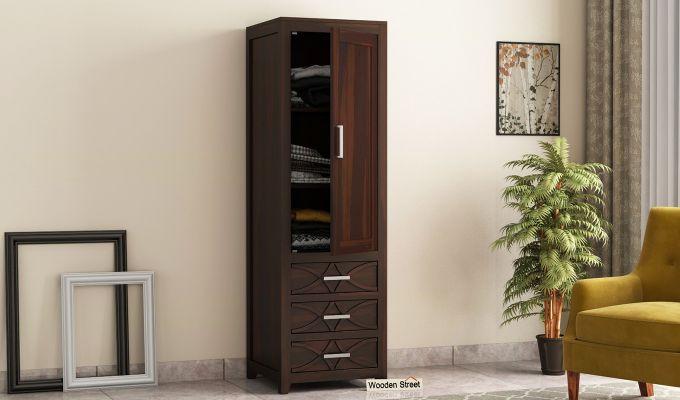Allan 1 Door Multi-Utility Wardrobe (Walnut Finish)-1