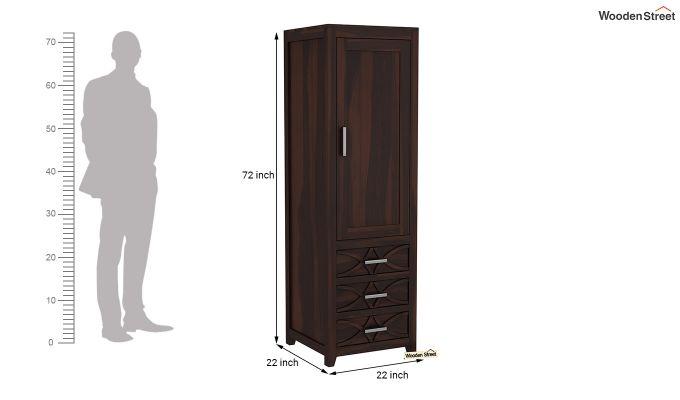 Allan 1 Door Multi-Utility Wardrobe (Walnut Finish)-6