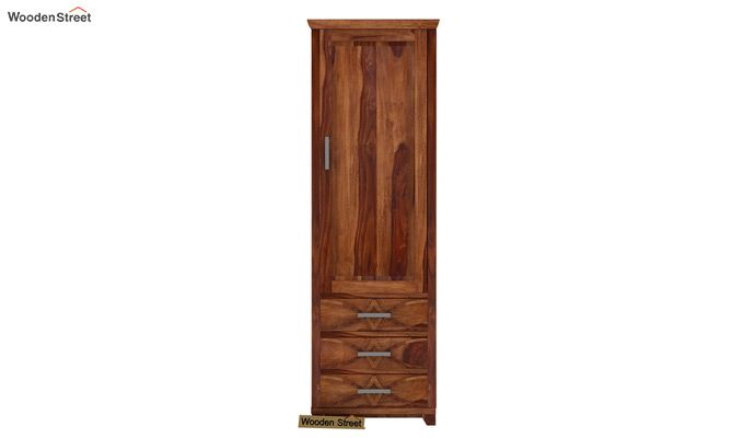 Allan 1 Door Multi-Utility Wardrobe (Teak Finish)-2
