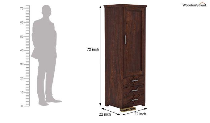 Allan 1 Door Multi-Utility Wardrobe (Walnut Finish)-5