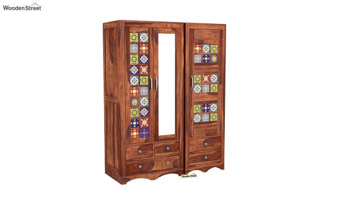 Boho 3 Door Multi Utility Wardrobe (Honey Finish)-2