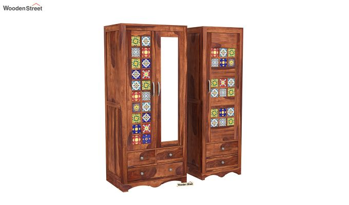 Boho 3 Door Multi Utility Wardrobe (Honey Finish)-4