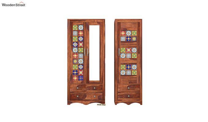 Boho 3 Door Multi Utility Wardrobe (Honey Finish)-5