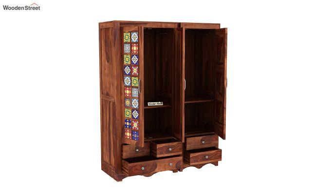 Boho 3 Door Multi Utility Wardrobe (Honey Finish)-6