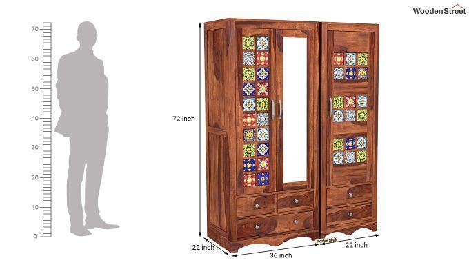 Boho 3 Door Multi Utility Wardrobe (Honey Finish)-8
