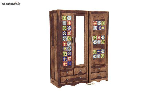 Boho 3 Door Multi Utility Wardrobe (Teak Finish)-2
