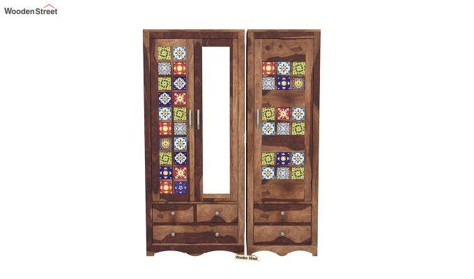 Boho 3 Door Multi Utility Wardrobe (Teak Finish)-3