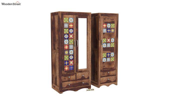 Boho 3 Door Multi Utility Wardrobe (Teak Finish)-4