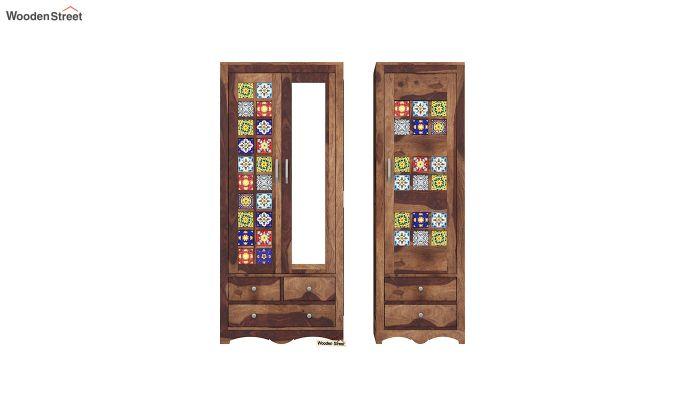 Boho 3 Door Multi Utility Wardrobe (Teak Finish)-5