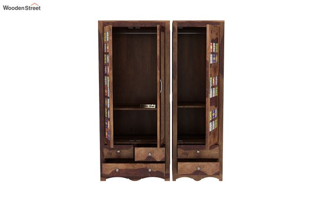 Boho 3 Door Multi Utility Wardrobe (Teak Finish)-7