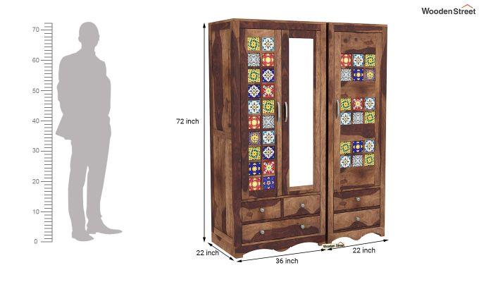 Boho 3 Door Multi Utility Wardrobe (Teak Finish)-8