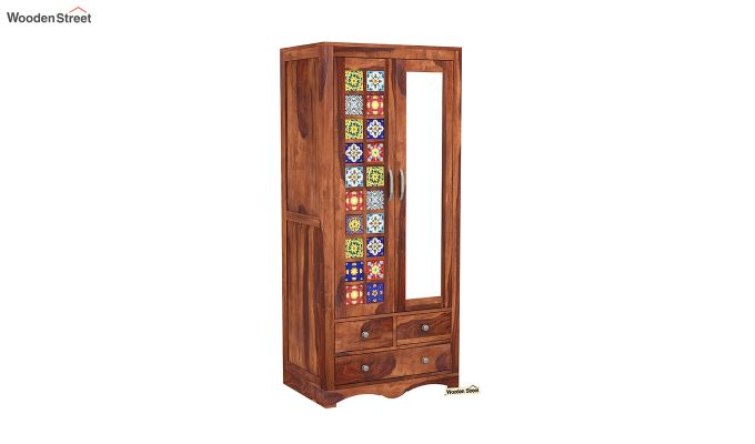 Boho 2 Door Multi Utility Wardrobe with Mirror (Honey Finish)-2