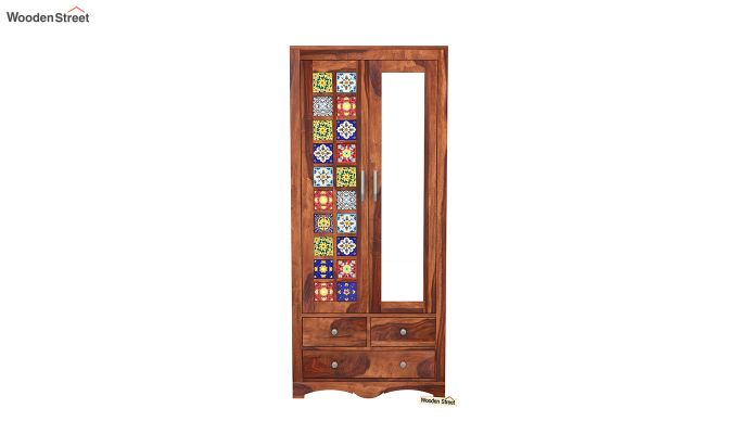 Boho 2 Door Multi Utility Wardrobe with Mirror (Honey Finish)-3
