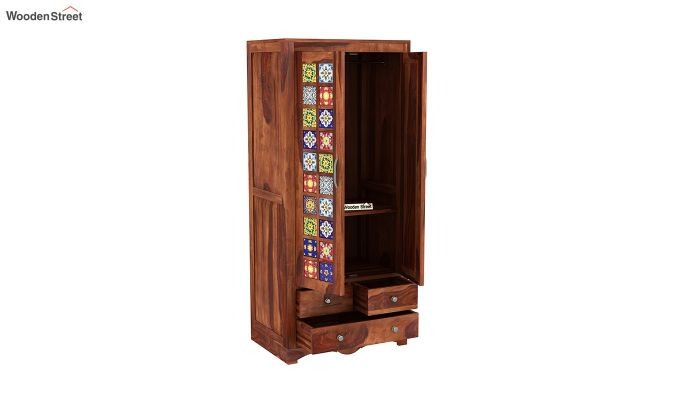 Boho 2 Door Multi Utility Wardrobe with Mirror (Honey Finish)-4