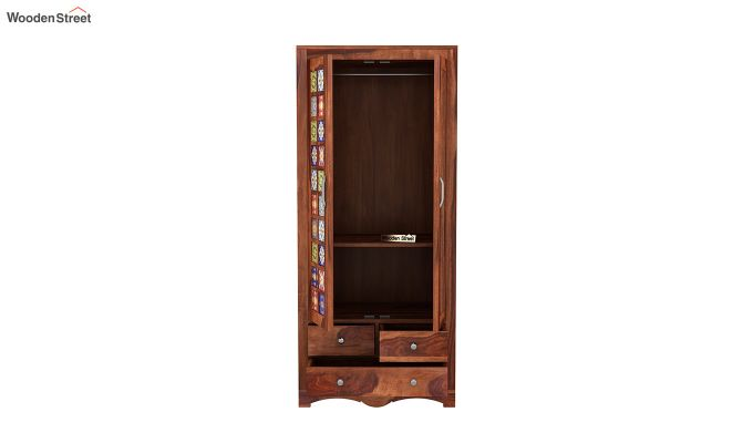Boho 2 Door Multi Utility Wardrobe with Mirror (Honey Finish)-5