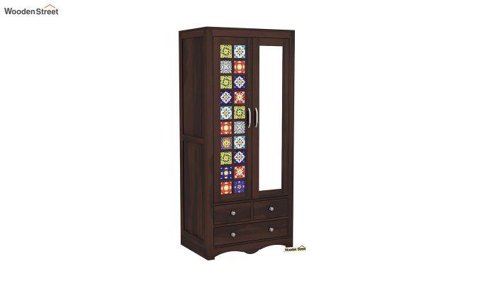 Boho 2 Door Multi Utility Wardrobe with Mirror (Walnut Finish)-2