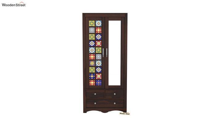 Boho 2 Door Multi Utility Wardrobe with Mirror (Walnut Finish)-3