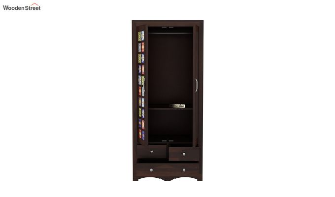 Boho 2 Door Multi Utility Wardrobe with Mirror (Walnut Finish)-5