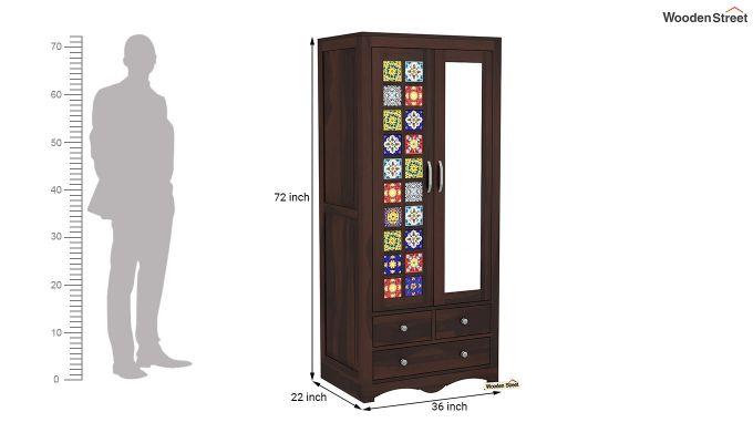 Boho 2 Door Multi Utility Wardrobe with Mirror (Walnut Finish)-6