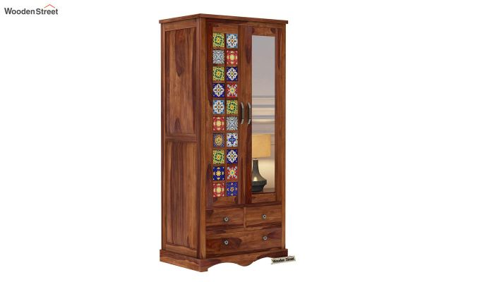 Boho Multi Utility Wardrobe with Mirror (Teak Finish)-2