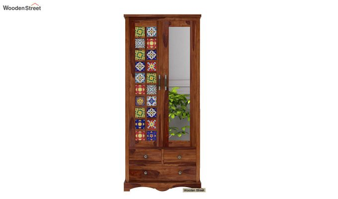 Boho Multi Utility Wardrobe with Mirror (Teak Finish)-3