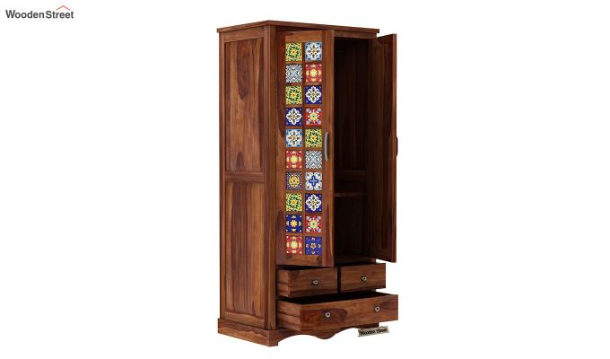 Boho Multi Utility Wardrobe with Mirror (Teak Finish)-4