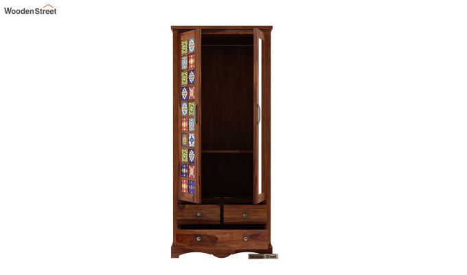 Boho Multi Utility Wardrobe with Mirror (Teak Finish)-5