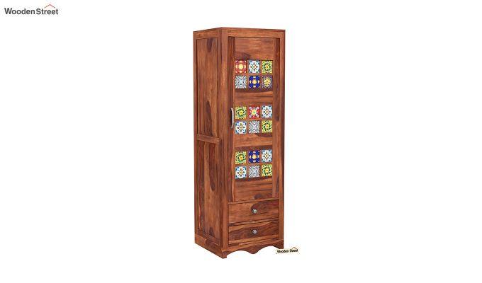 Boho 1 Door Multi Utility Wardrobe (Honey Finish)-2
