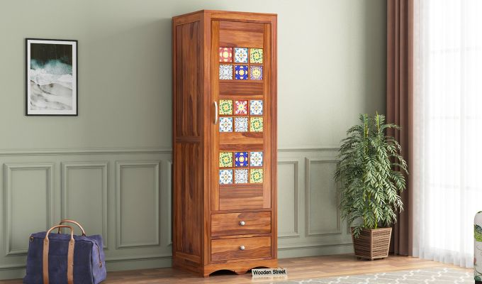 Boho 1 Door Multi Utility Wardrobe (Honey Finish)-1