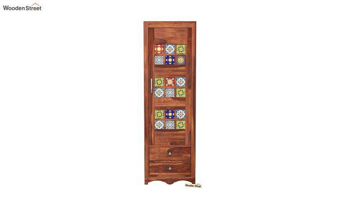 Boho 1 Door Multi Utility Wardrobe (Honey Finish)-3