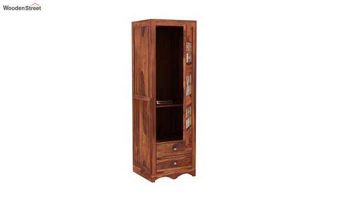 Boho 1 Door Multi Utility Wardrobe (Honey Finish)-4